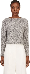 Giambattista Valli White And Black Marled Angora Cropped Sweater