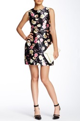 Gracia Floral Print Flare Dress Black