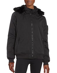 Bench Faux Fur Accented Zip Up Jacket Jet Black