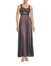 Betsy And Adam Pleated Crisscross Gown Grey Pink