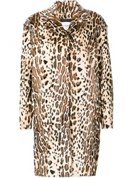 Yves Salomon Animal Print Coat Nude And Neutrals
