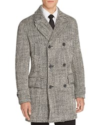 Hardy Amies Diagonal Double Breasted Coat Black White