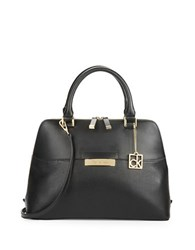 Calvin Klein Leather Dome Satchel Black Gold