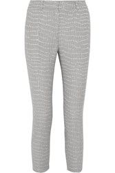 Iris And Ink Astrid Cotton Blend Jacquard Pants Gray