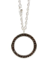Macy's Garnet Accent Round Pendant Necklace In Sterling Silver
