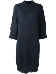 Maison Martin Margiela Layered Effect Knit Dress Blue