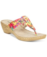 Bella Vita Sulmona T Strap Wedge Sandals Women's Shoes Bright Multi