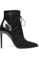 Saint Laurent Jane Suede And Leather Ankle Boots Black
