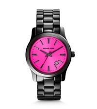 Michael Kors Runway Fuschia And Onyx Watch Black