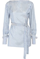 Calvin Klein Collection Striped Satin Twill Top Blue