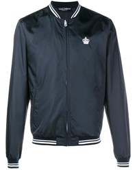 Dolce And Gabbana Crown Embroidered Bomber Jacket Navy White