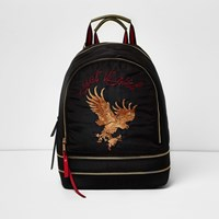 River Island Womens Black Eagle Embroidered Backpack