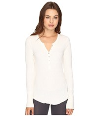 Pj Salvage Slub Henley Long Sleeve Tee Natural Women's Pajama Beige