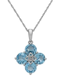 Macy's Blue Topaz 4 Ct. T.W. And Diamond Accent Clover Pendant Necklace In 14K White Gold