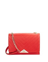 Karl Lagerfeld Gigi Pebbled Leather Shoulder Bag Rouge
