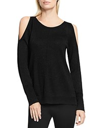 Vince Camuto Cold Shoulder Glitter Sweater Rich Black