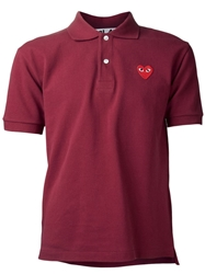 Comme Des Garcons Play Pique Polo Shirt Red
