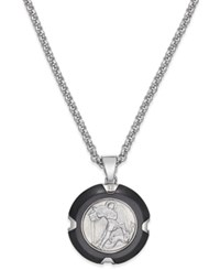 Macy's St. Michael Pendant Necklace In Carbon Fiber And Stainless Steel Silver