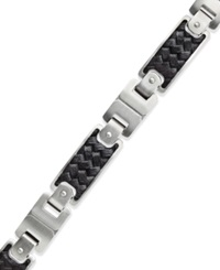 Macy's Men's Black Leather And Stainless Steel Link Bracelet
