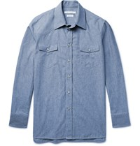 Marc Jacobs Slim Fit Cotton Chambray Western Shirt Blue