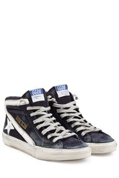 Golden Goose 2.12 High Top Sneakers With Leather Trim Blue