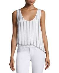 Paige Wilfred Scoop Neck Striped Tank White Black Women's