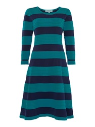 Dickins And Jones Green And Navy Knitted Stripe Dress