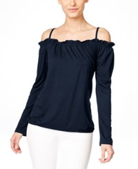 Inc International Concepts Long Sleeve Off Shoulder Peasant Blouse Only At Macy's Deep Twilight