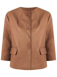 Gloria Coelho Leather Jacket Brown