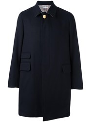 Thom Browne Single Breasted Coat Blue