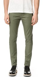Scotch And Soda Super Slim Tech Zip Chinos Military