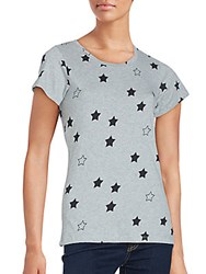 French Connection Star Print Cotton Tee Grey Black