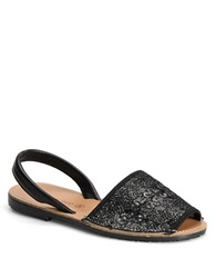Carmen Marc Valvo Honor Leather Sandals Black