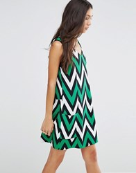Traffic People Shift Dress In Chevron Print Black Green