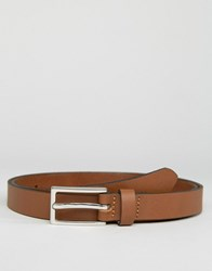 Asos Smart Skinny Leather Belt In Tan Tan