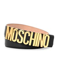 Moschino Large Logo Adjustable Leather Belt Black Gold Women's