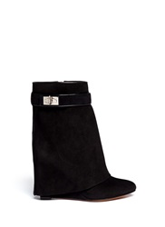 Givenchy Shark Tooth Turn Lock Suede Wedge Boots Black