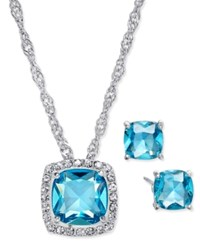 Charter Club Silver Tone Aqua Crystal Pave Necklace And Earrings Set Only At Macy's