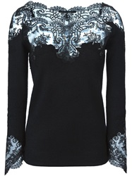 Ermanno Scervino Lace Panels Long Sleeve Top Black