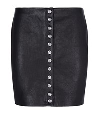 Versus By Versace Versus Versace Lion Button Leather Mini Skirt Female