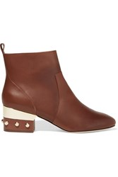 Isa Tapia Hardy Studded Leather Ankle Boots Brown