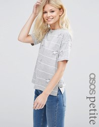 Asos Petite Top With Unicorn Badges In Stripe Multi