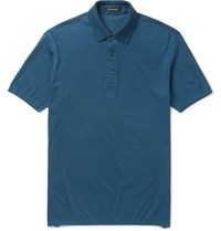 Ermenegildo Zegna Slim Fit Cotton Pique Polo Shirt Petrol