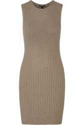 James Perse Ribbed Cotton Blend Dress Mushroom