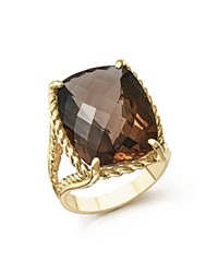 Bloomingdale's Smoky Quartz Rectangular Statement Ring In 14K Yellow Gold Brown Gold