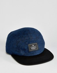 Asos 5 Panel Cap In Navy Tweed Navy