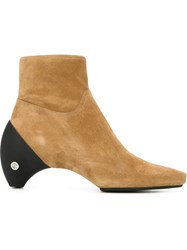 Courra Ges Curved Heel Ankle Boot Nude And Neutrals