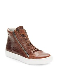 Kenneth Cole Reaction Good Vibes Lace Up Sneakers Cognac Brown