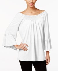 Cable And Gauge Off The Shoulder Peasant Top Ivory