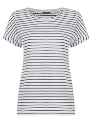 Warehouse Stripe Breton T Shirt White Blue